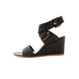 rag&bone black leather strap wedges